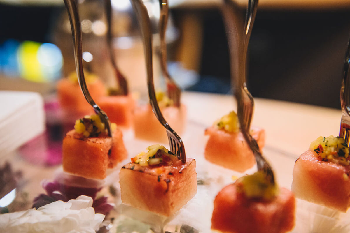 Wedding food, Salmon canapes being served